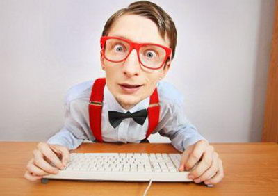 Funny guy browsing internet