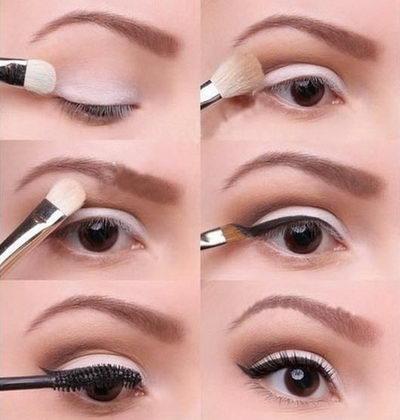 Пошаговый макияж на каждый день для карих глаз