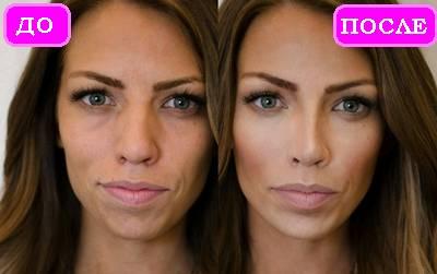 Фото коррекции лица до и после с помощью макияжа