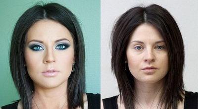Коррекция лица с помощью макияжа до и после