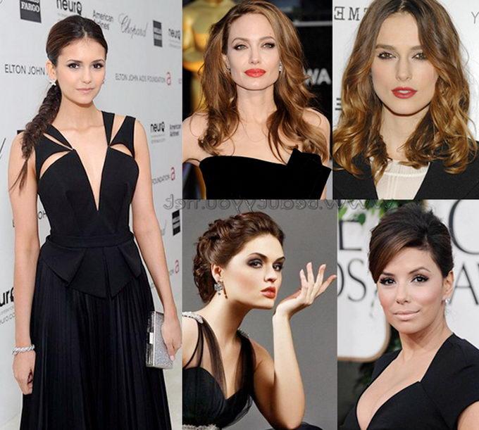 Черное платье и макияж