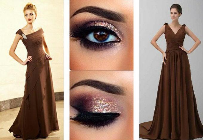 Макияж глаз под коричневое платье