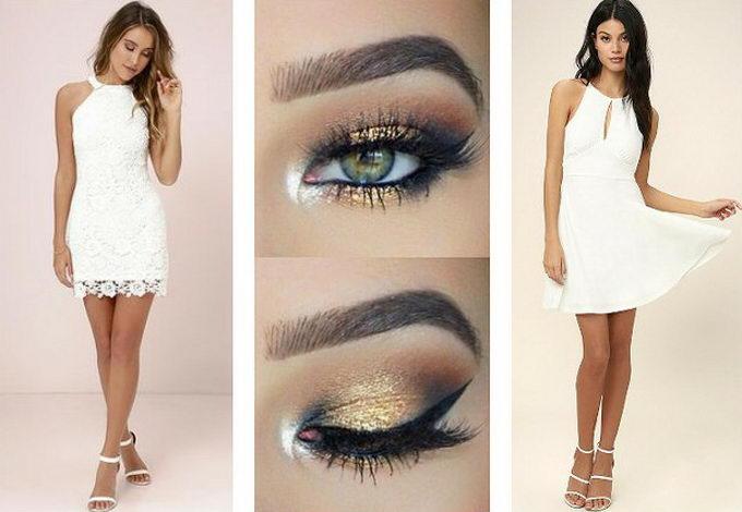 Макияж глаз с белым платьем